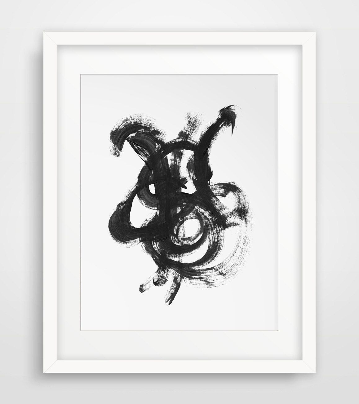 Abstract art abstract painting black and white decor modern wall
