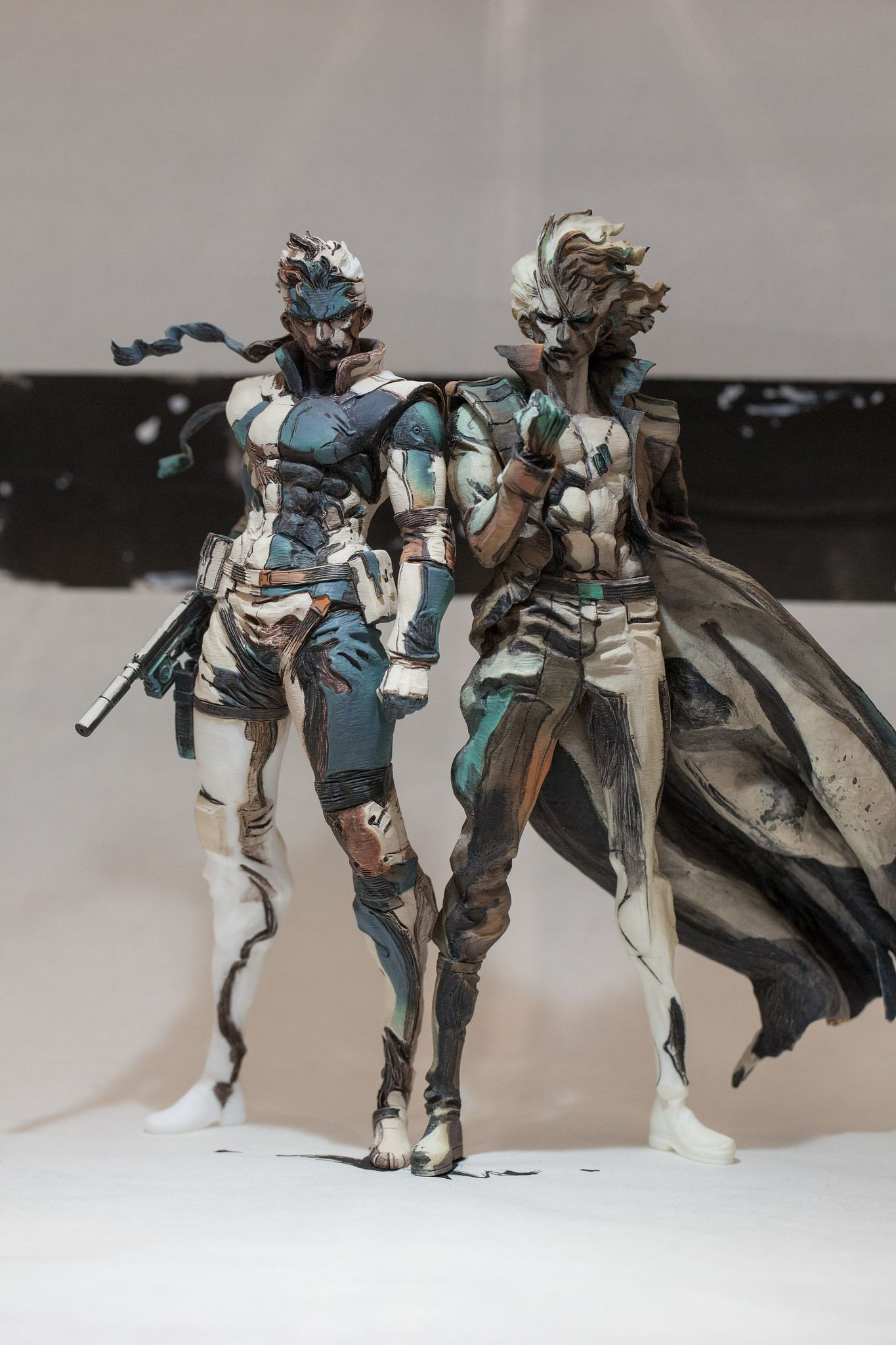 Twin Snakes Figures To Painted To Look Like A Sketch Metalgearsolid