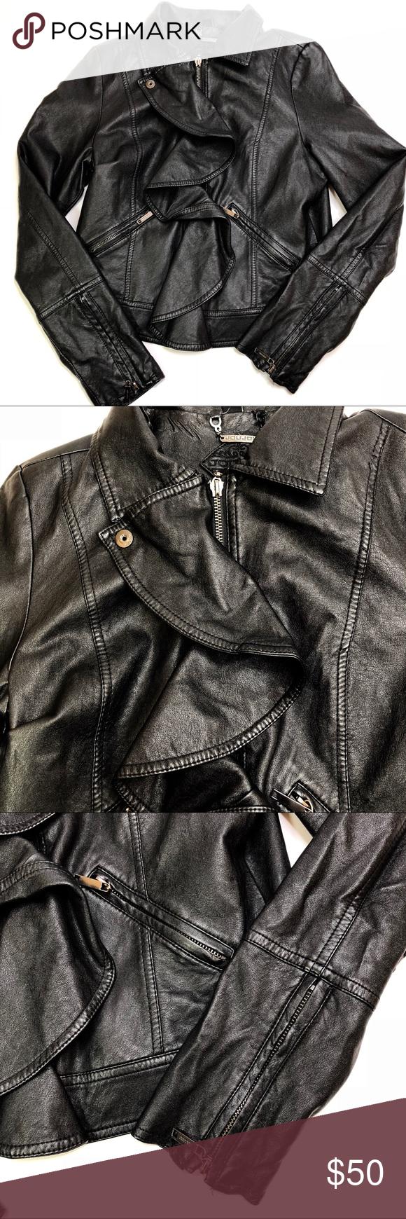Jou Jou Faux Leather Black Ruffle Moto Jacket Med