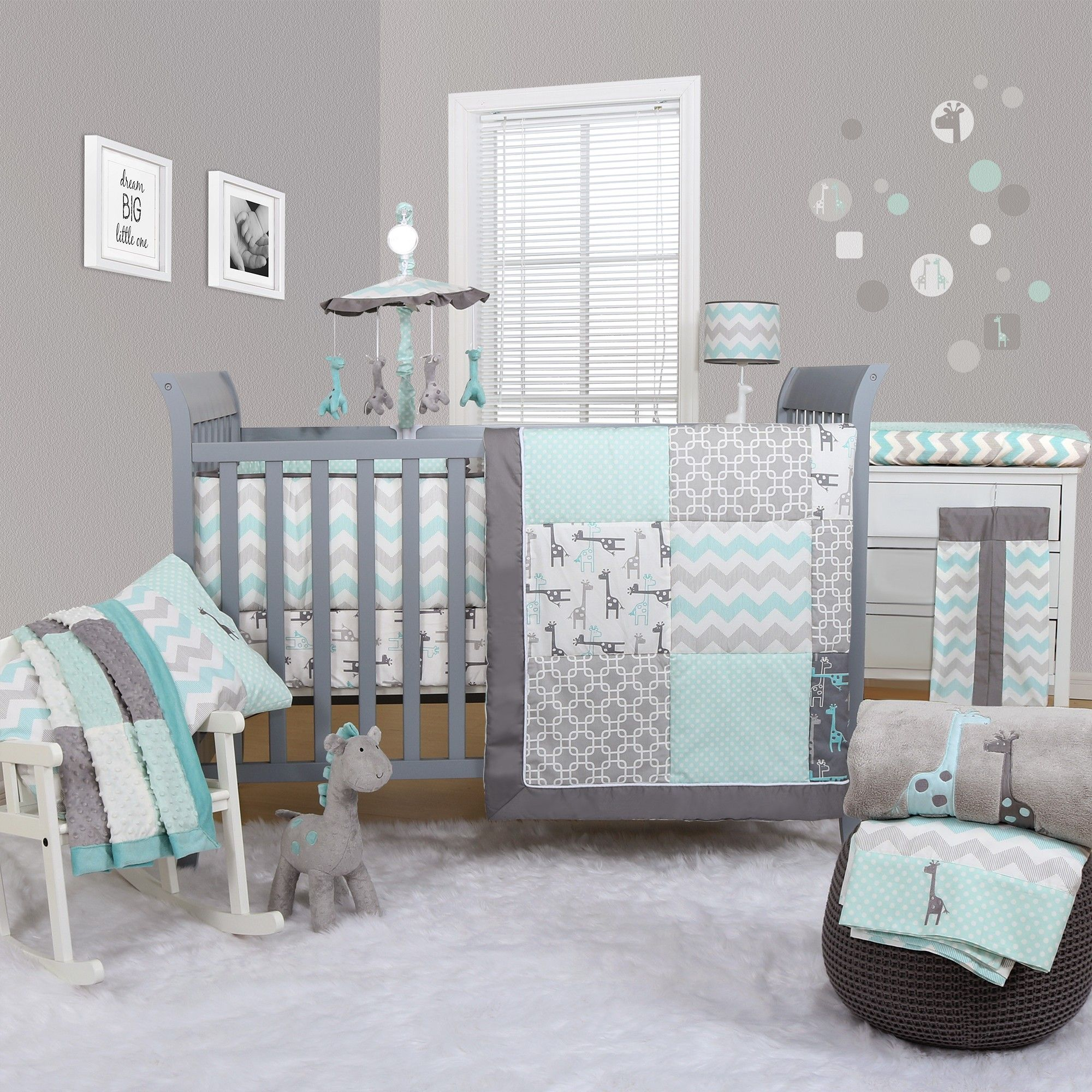 Peanut shell uptown giraffe 5 piece bedding set cot for Baby room decoration boy
