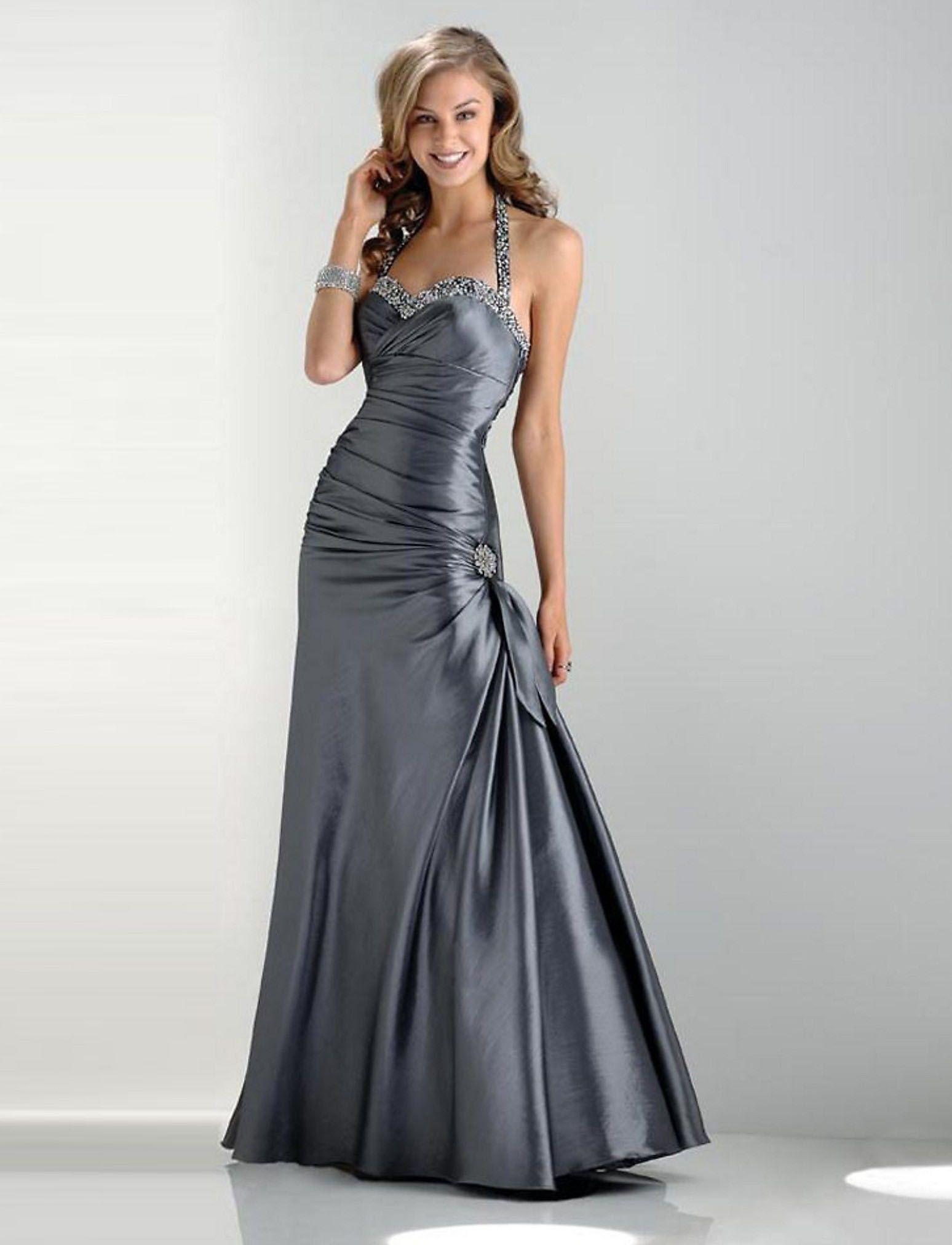Grey HalterTop Prom Dress SuperCute Clothes Pinterest Prom