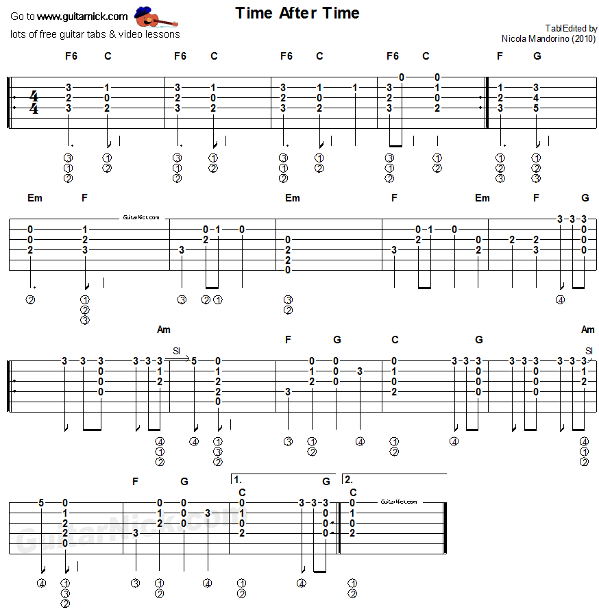 Time After Time Cyndi Lauper Easy Acoustic Guitar Tab Music