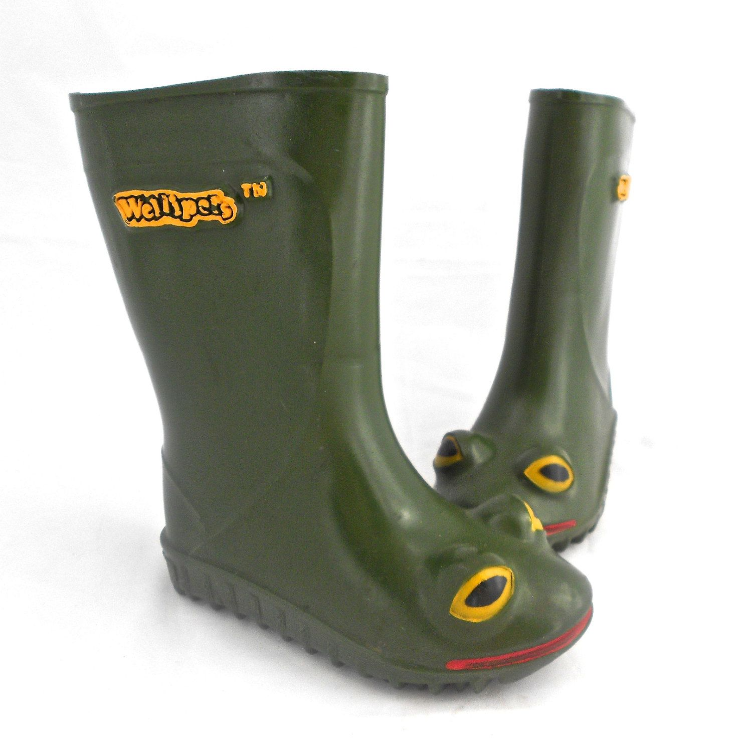 Original Childrens WelliPets Green Frog Rain Boots - TREASURY Item ...