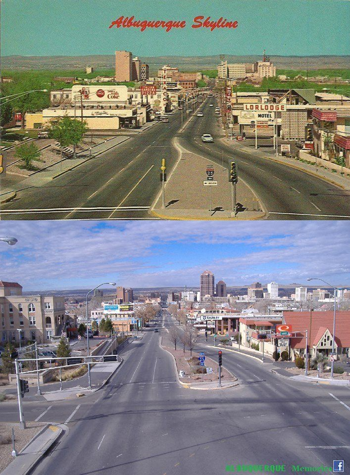 A Now Then Of Albuquerque Nm Looking West Into Downtown