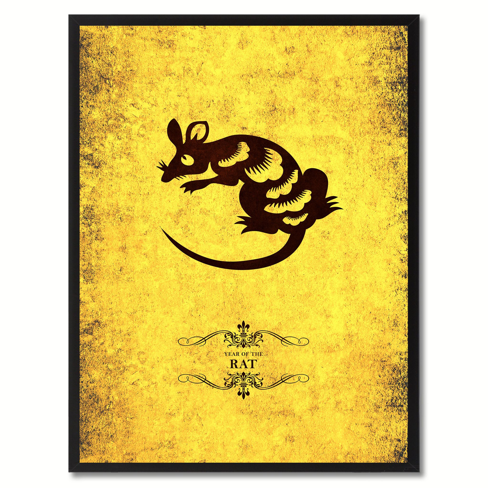 Rat Chinese Zodiac Canvas Print, Black Picture Frame Home Decor Wall ...
