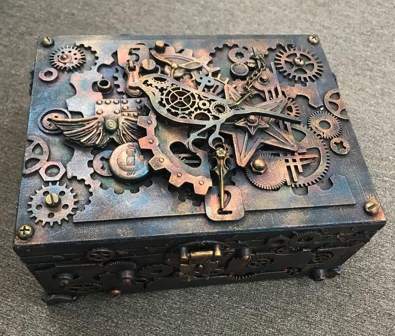 Steampunk bird jewelry box