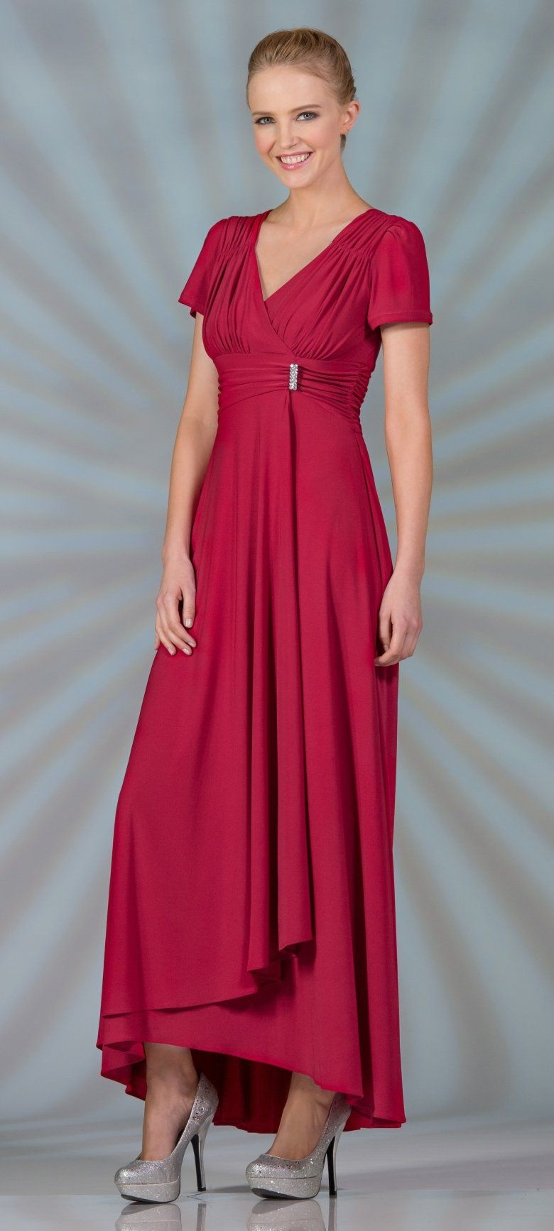 Tea Length Modest Red Choir Dress Short Sleeves V Neckline $89.99 ...
