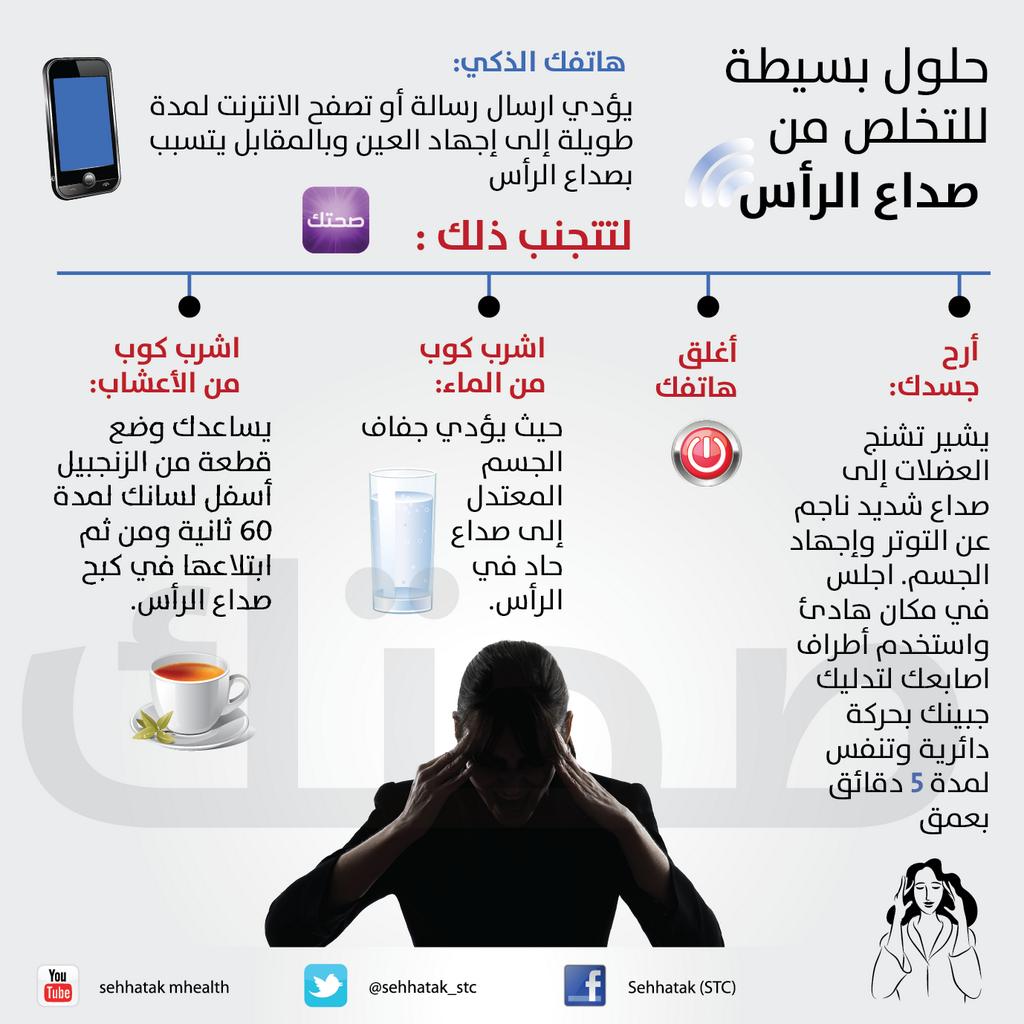 حلول بسيطة للتخلص من صداع الرأس انفوجرافيك بياني Health Advice Health And Beauty Tips Healthy Mind And Body