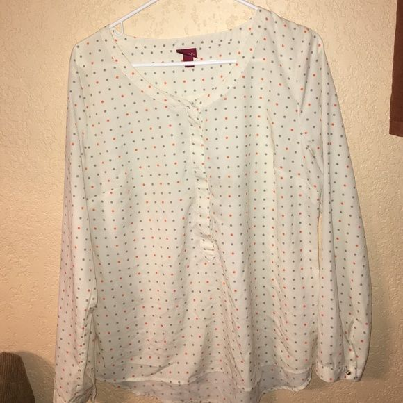 Polka Dotted Long Sleeve Blouse Pretty thin blouse. Has Pink and and Gray polka dots. Nice to combine with black dress pants. In good condition! Merona Tops Blouses