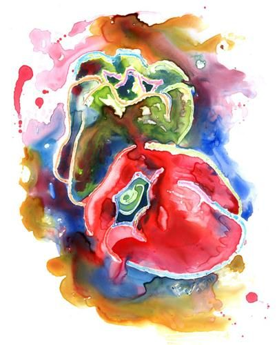 """""""Bell Peppers I"""" - Original Fine Art for Sale - © by Yevgenia Watts"""