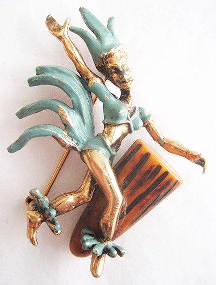 Vintage Female Dancer with Carved Bakelite Bongo Drum Pin ...
