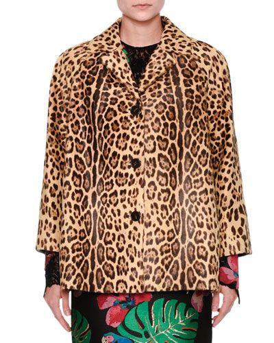 VALENTINO Leopard-Print Calf-Hair Fur Bracelet-Sleeve Coat, Multi. #valentino #cloth #