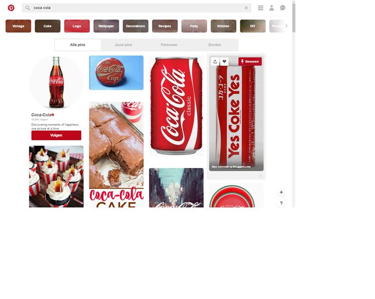 Coca Cola, kennen we allemaal! Deze internationale onderneming heeft dan ook enorme winsten. Deze stijl van 'grote onderneming' komt zeker terug in hun pinterest pagina. Nieuwe producten, maar ook innovatieve manieren om hun product te promoten vind je hier terug.