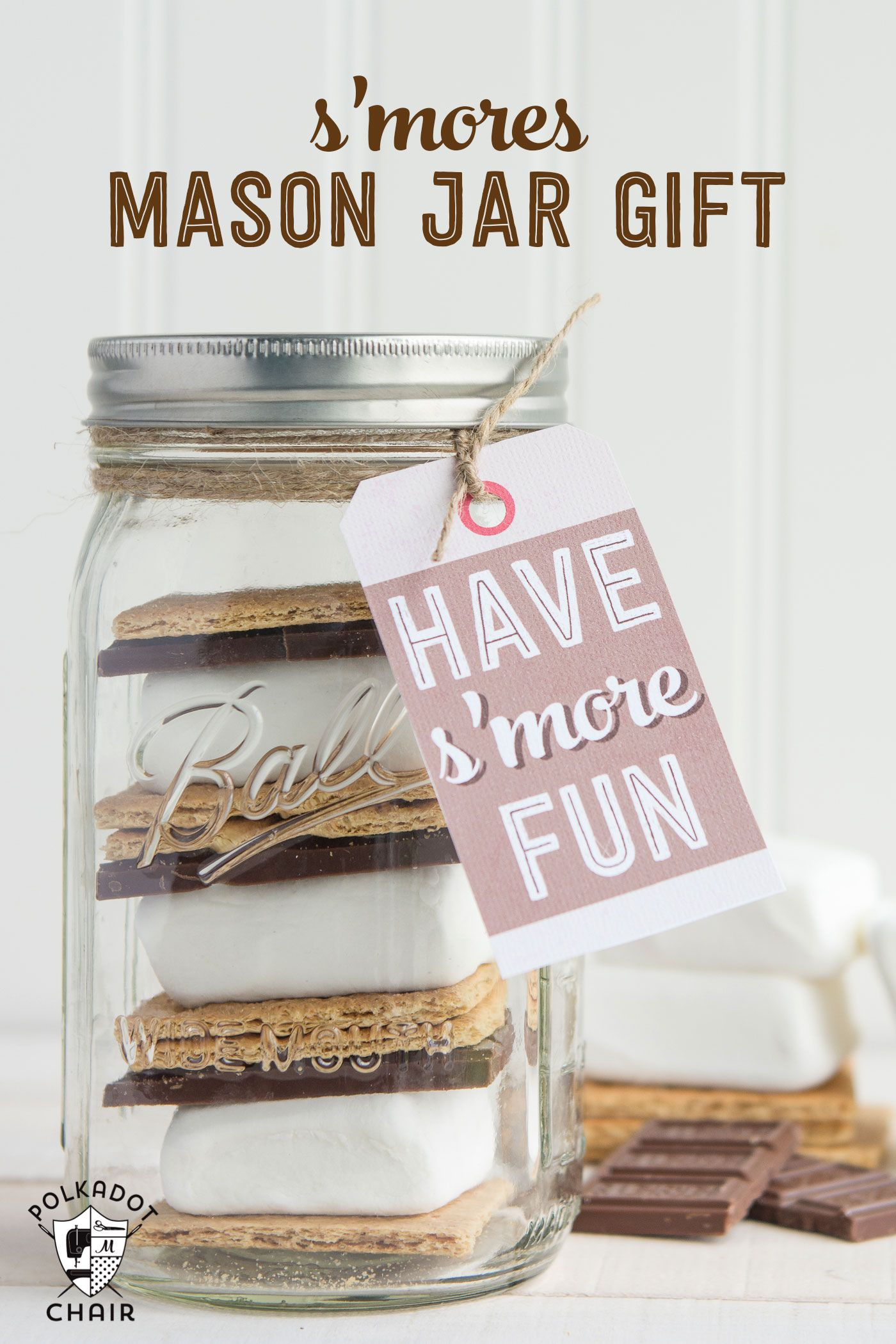 Smores mason jar gift idea gift tag jar gift and free smores mason jar gift idea gift tag negle