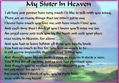 Missing My Sister In Heaven Quotes | Missing my sister