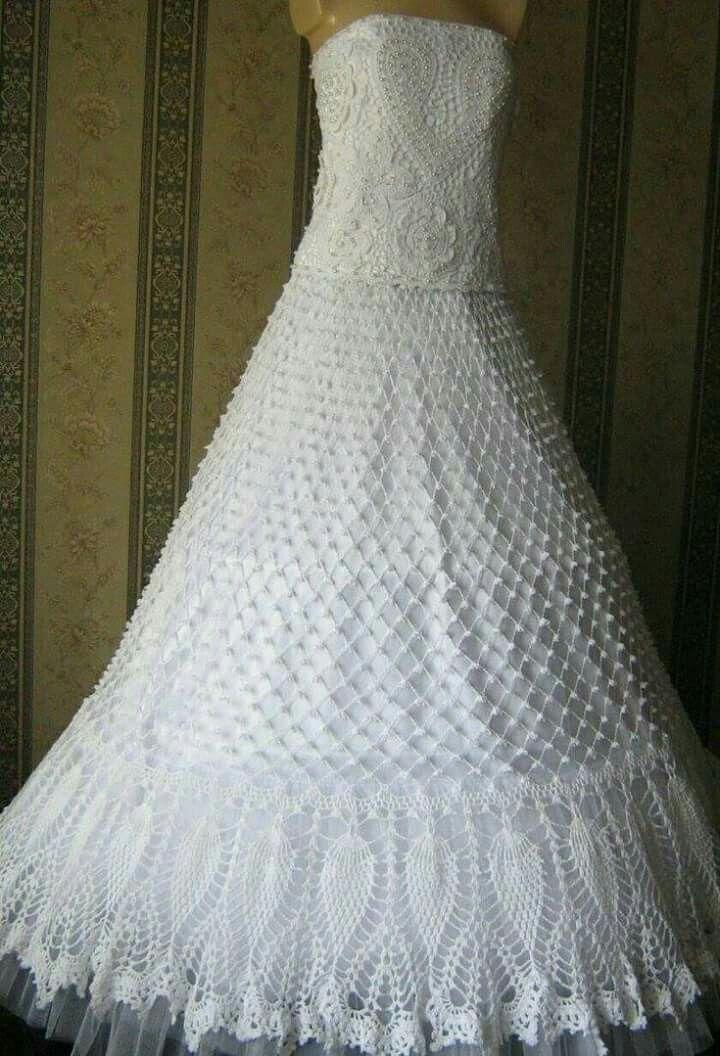 crochet wedding dress | creaciones hermosas vicky❇♥ | Pinterest ...