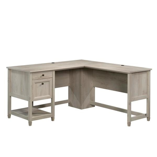 Sauder 59 In L Shaped Chalked Chestnut 2 Drawer Computer Desk With File Storage 426500 The Home Depo In 2020 L Shaped Desk Desk With Drawers L Shaped Executive Desk