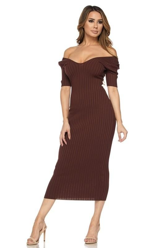 122cedaacb05 Brown Off The Shoulder Ribbed Knit Midi Dress