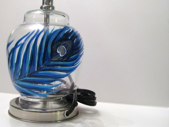 Hand Painted Peacock Feather Lamp Base #dteam