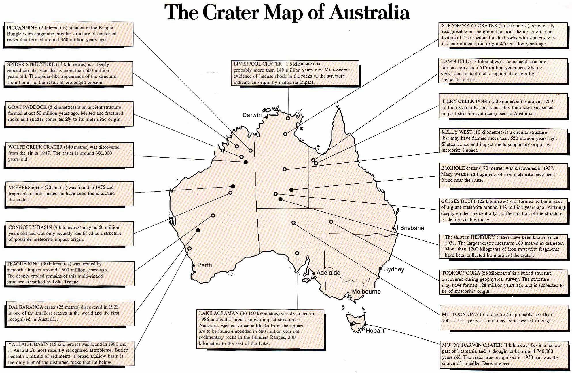 hight resolution of meteorite impact crater map of australia