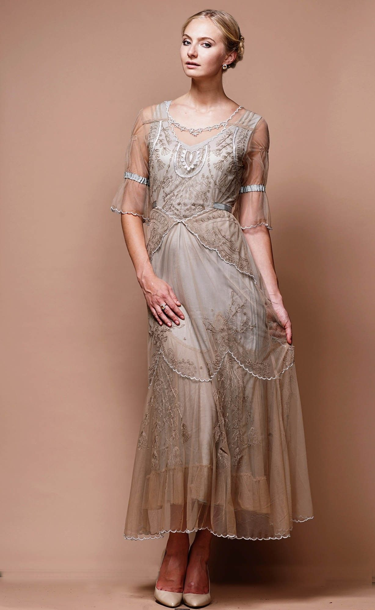 Edwardian Vintage Inspired Wedding Dress In Sand Silver By Nataya Sold Out Vintage Inspired Wedding Dresses Nataya Dress Edwardian Fashion Dresses [ 2000 x 1228 Pixel ]