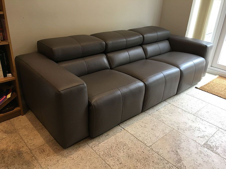 Binari 3 Seater 68cm Width Seats In Leather. Sofa With 3x Electric Reclining  Seats And Adjustable Headrests. Delivered To Our Client In Essex.