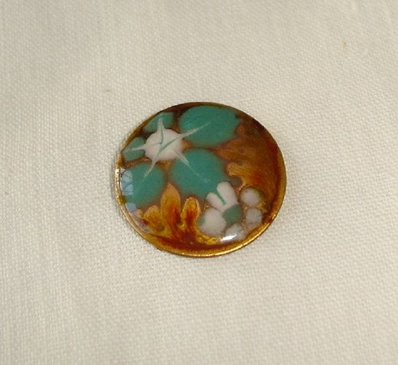 Vintage Button Unusual Handmade Enamel Button with by marias9
