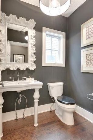 Transitional powder room with cb2 eden white pendant light for Small bathroom high ceiling
