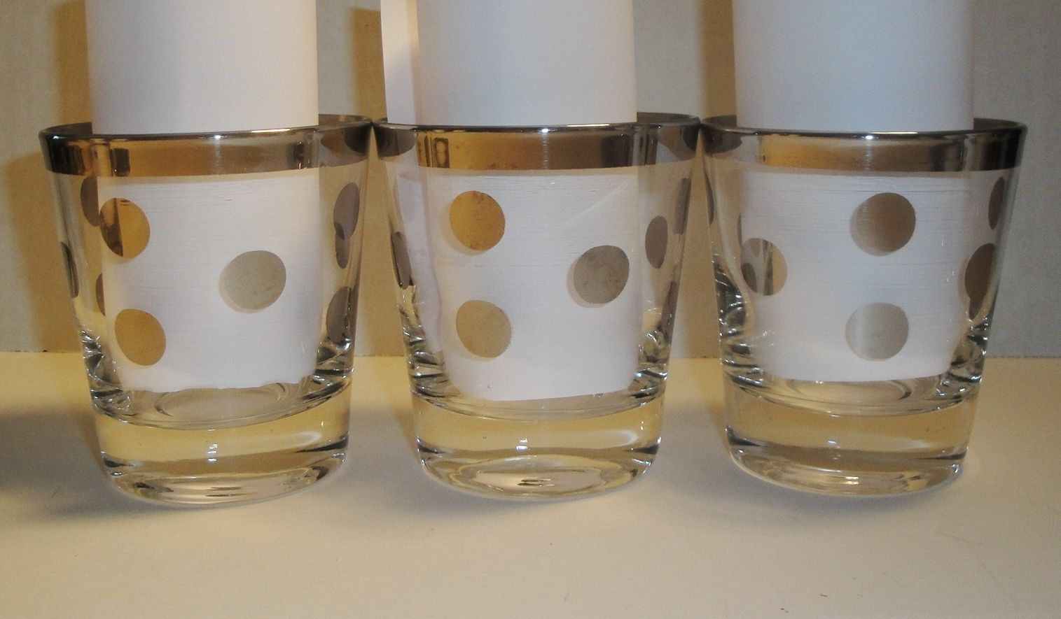 Set of 8 Retro/Mid-Century Modern Silver-Rimmed Cocktail Glasses with Polka Dots | eBay