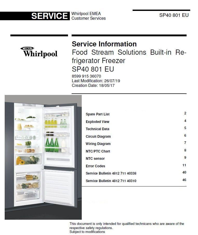 whirlpool sp40 801 eu refrigerator service information