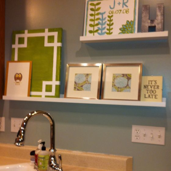 I finally decorated the blank wall above the sink! And I'm ... on ideas for decorating above cabinets, ideas for decorating above fireplace, ideas for decorating above sofa, ideas for decorating above bathtub,