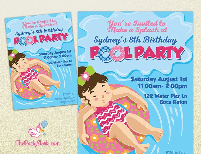 Pool Party Invitations Printable Girls or Boys Birthday – Creative Pool Party Invitations