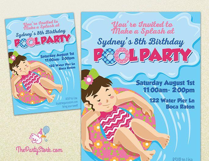 Pool Party Invitation Printable Girl Birthday Invite Summer Pool - birthday invitation swimming party