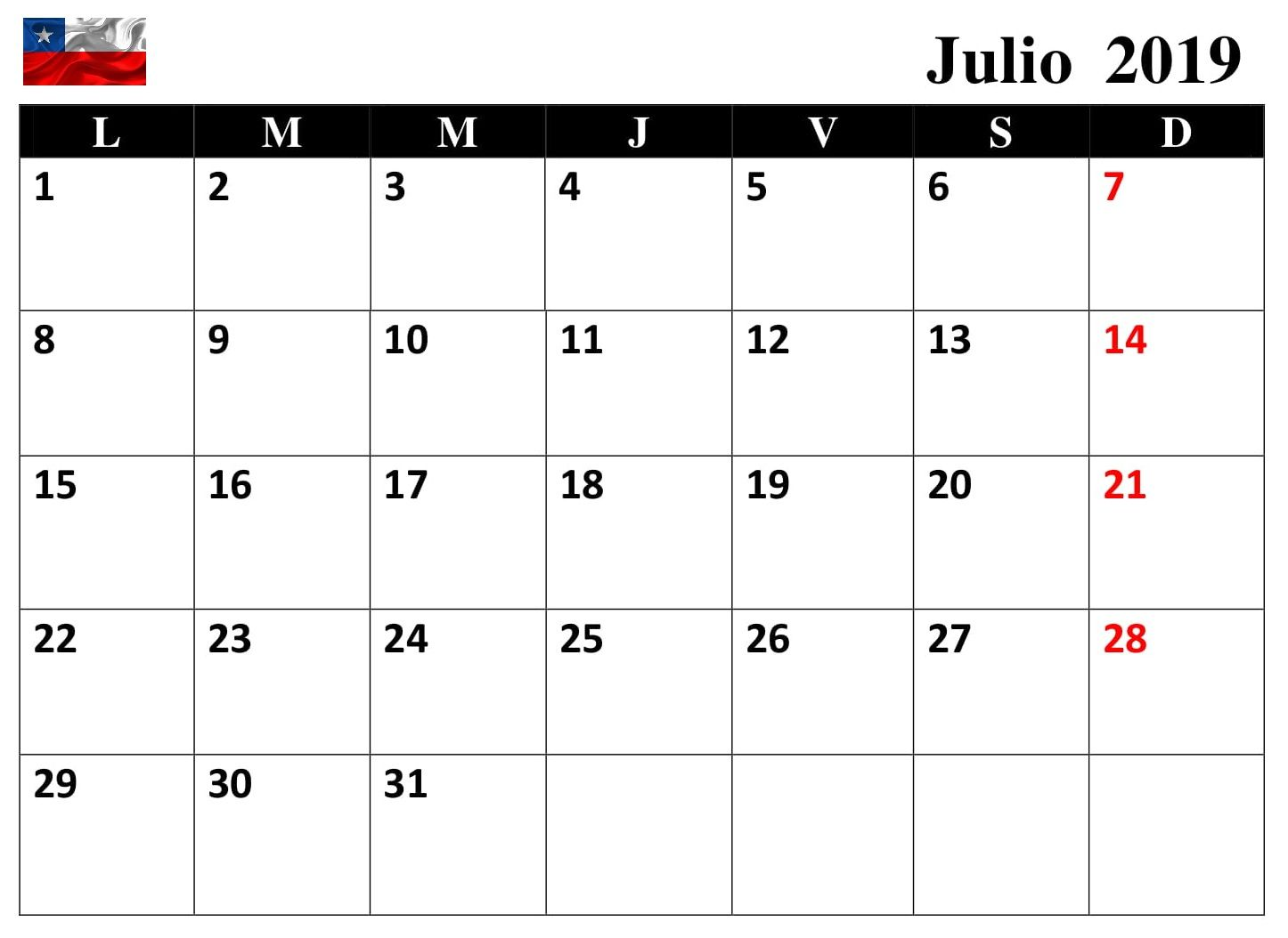Calendario 2019 Julio Chile.Calendario Mensual Julio 2019 Chile Calendario Julio 2019