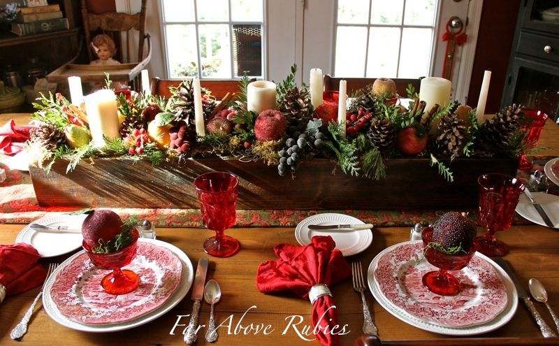 17 Ways To Use A Long Box As A Centerpiece Christmas Table Christmas Table Settings Wooden Box Centerpiece