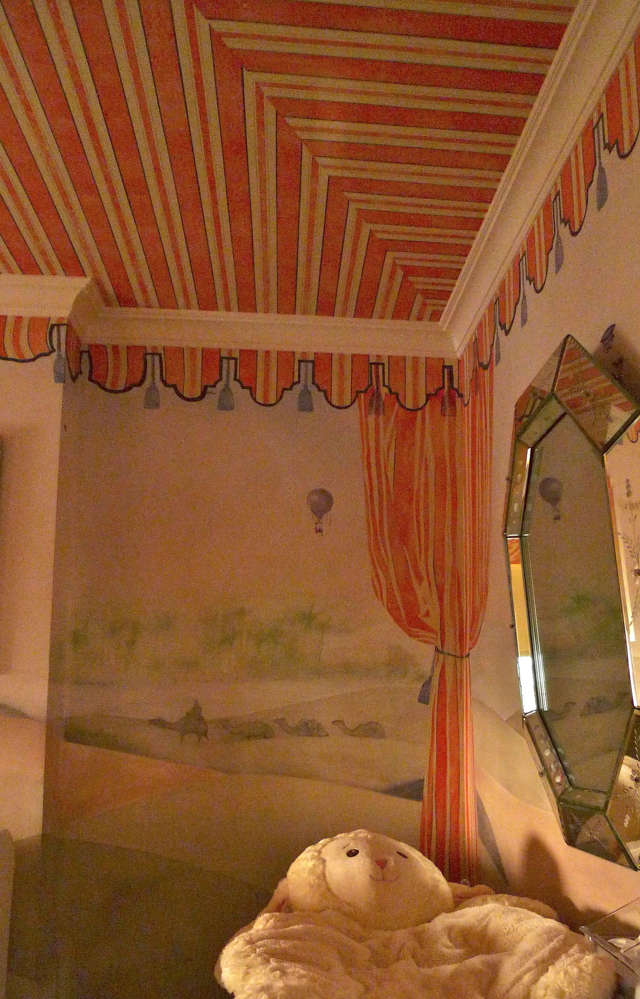 Super Cute And Playful Circus Tent Ceiling With Serious Mural