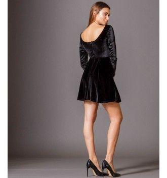 ad29956c660e Μακρυμάνικο Κλος Φόρεμα Βελουτέ - Μαύρο