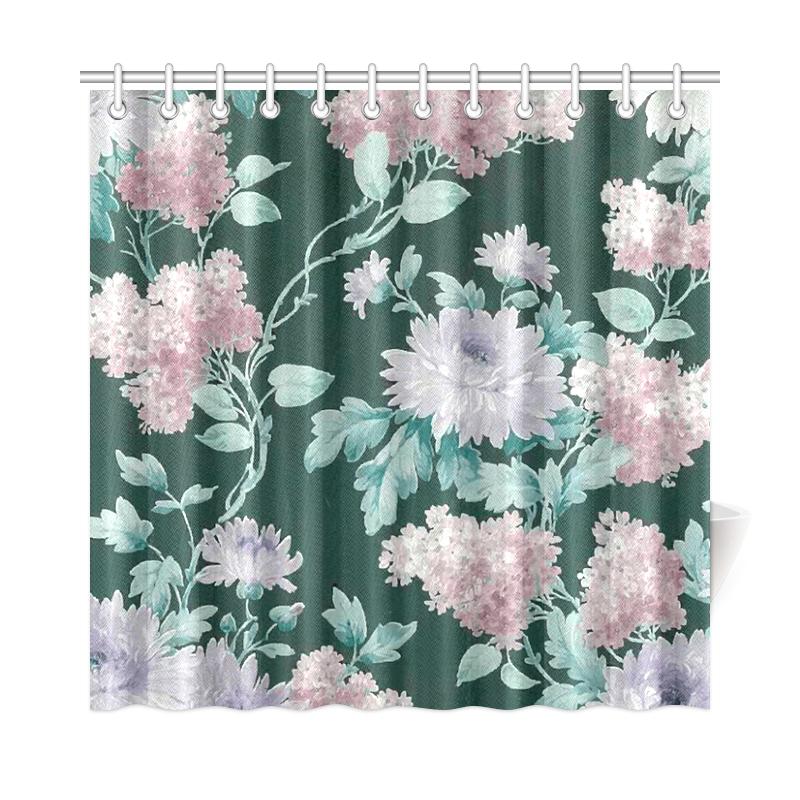 Vintage Floral Wallpaper Victorian Flowers Shower Curtain 72