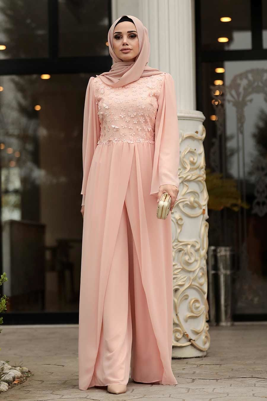Photo of Nayla Collection Three Dimensional Floral Powder Hijab Evening Dress Tulum 3932PD Tes …