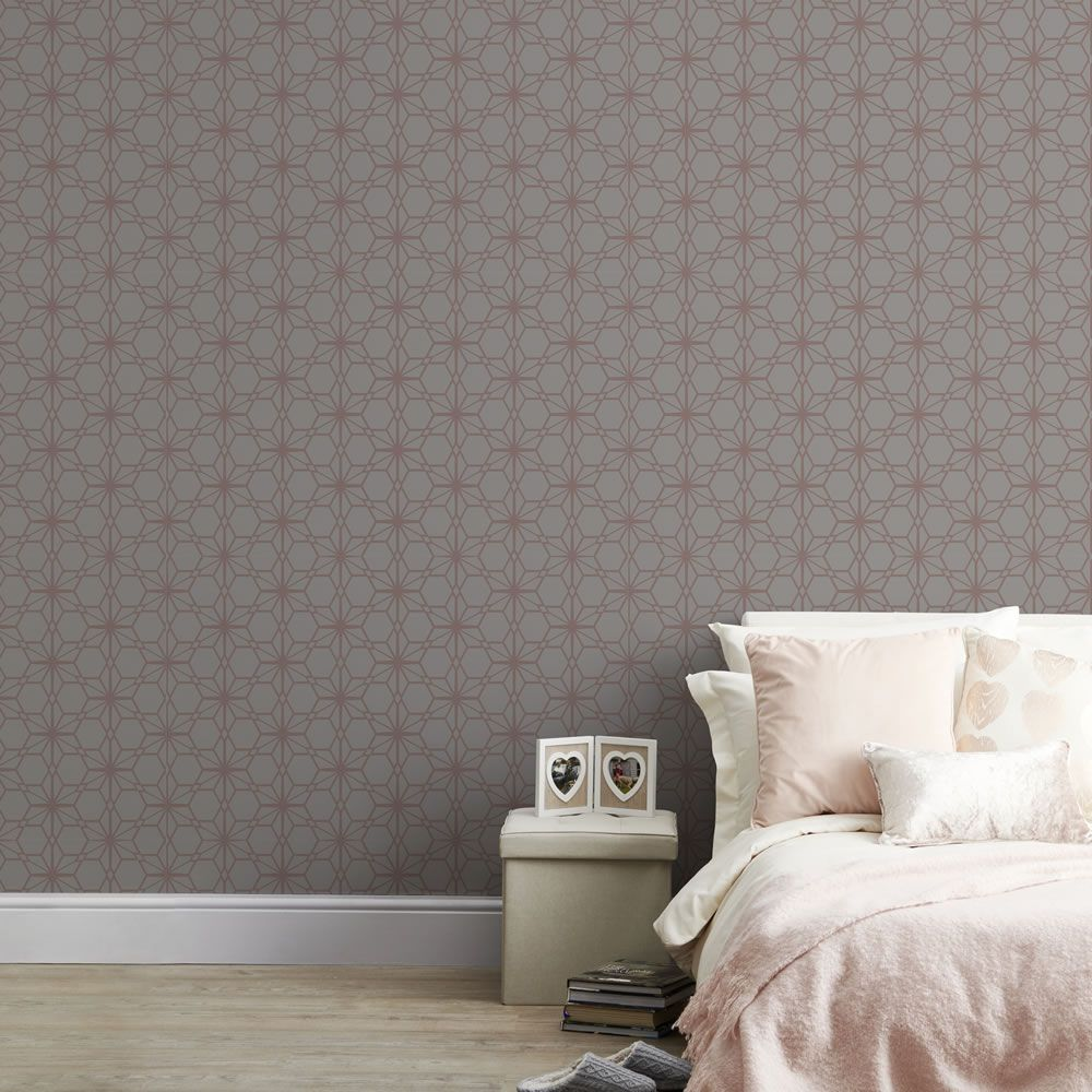 Wilko  Rose gold wallpaper, Gold wallpaper, Finished living room