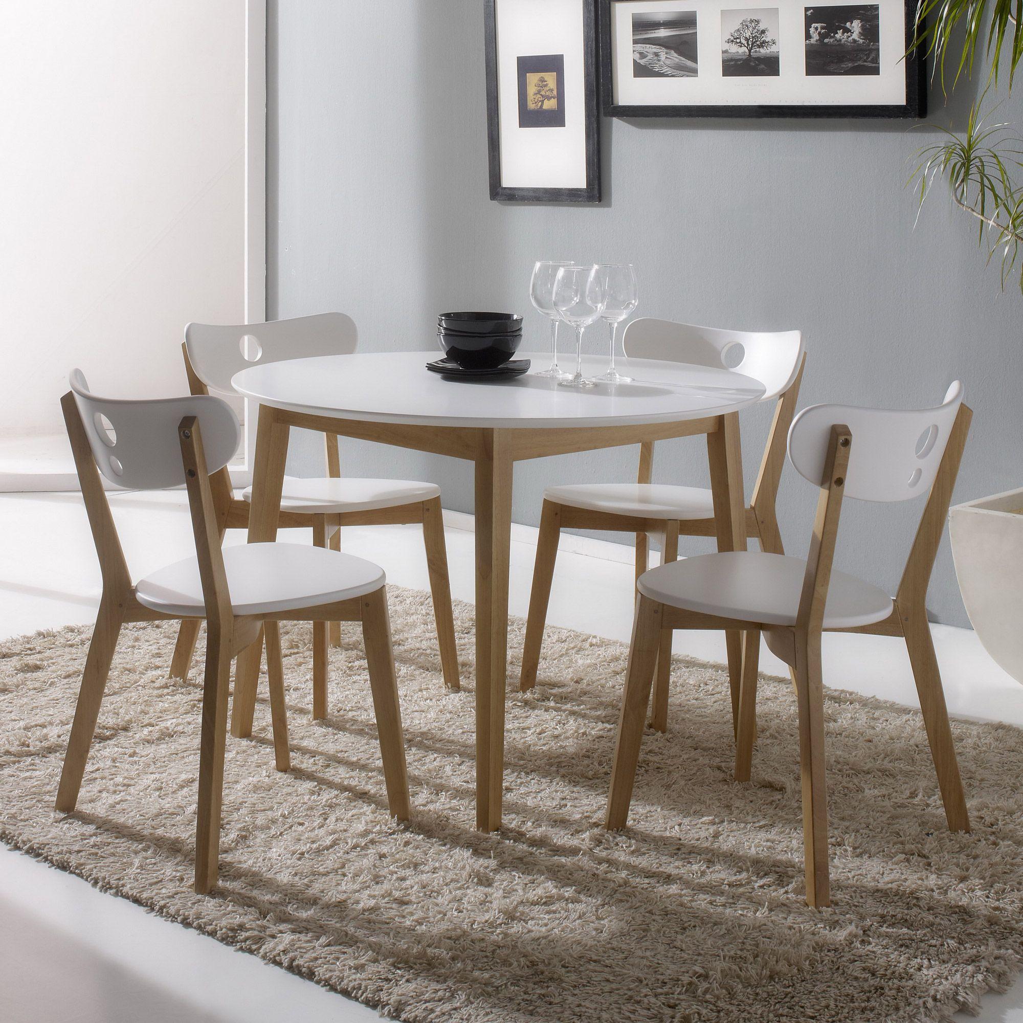 ensemble table de salle manger ronde et 4 chaises en bois hida kaligrafik