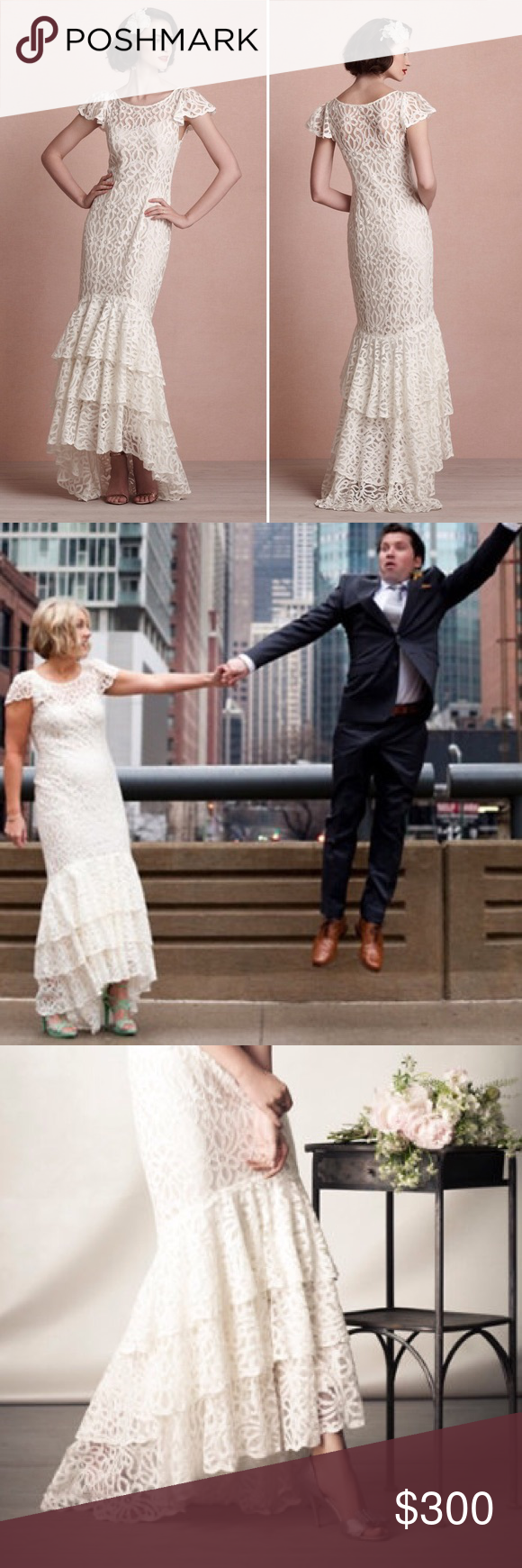 Lace wedding dress under 300  LIKE NEW HighLow Lace Wedding Dress from BHLDN My twin sister wore