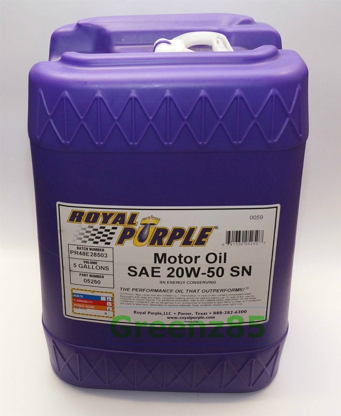 Royal Purple 20w 50 Synthetic Motor Oil 05250 5 Gallon Pail