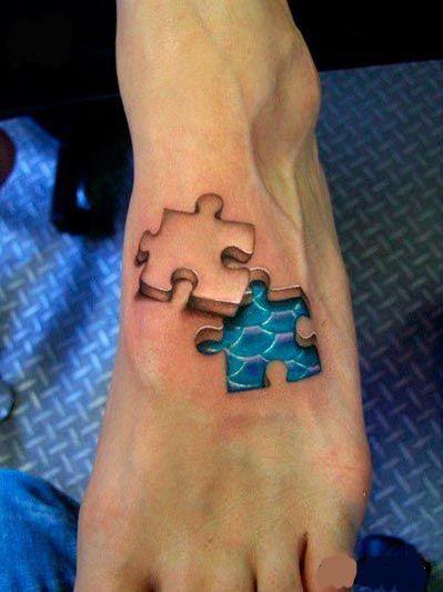 Tatuaż 3d Na Stopie Tattoo Fajne Tatuaże Tatuaże Na