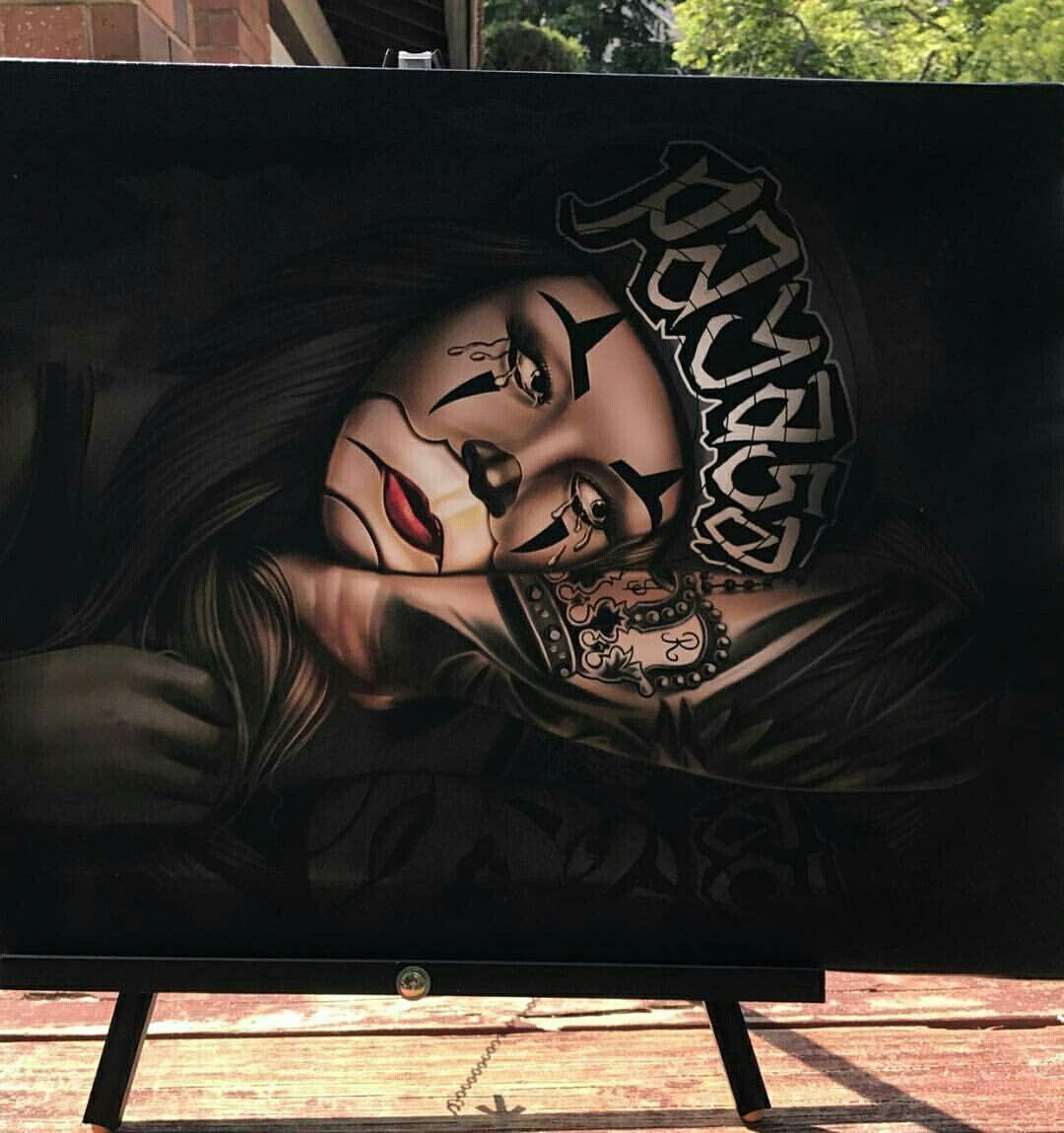 Cholos Cholas Azteca Tattoo Graffiti Gangster Weed Cannabis Charra Catrina Payasa Marihuana Calaveras Art Azteca Tattoo