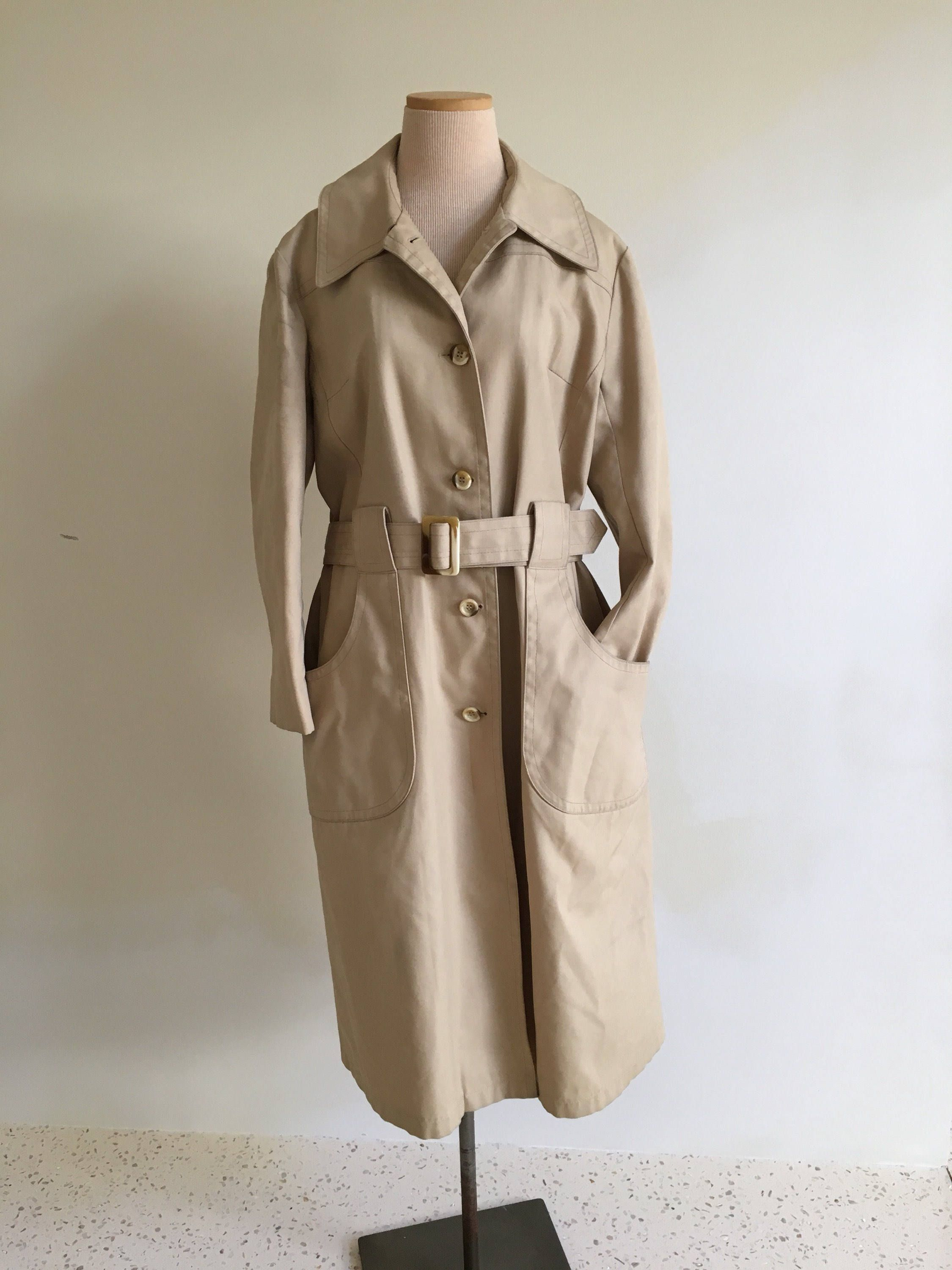 d1839a4e1cf Vintage 60s trench coat women XL raincoat 1960s trench coat long belted  beige tan rain mod car 60s coat 50s 70s trench midi canvas spy retro by ...