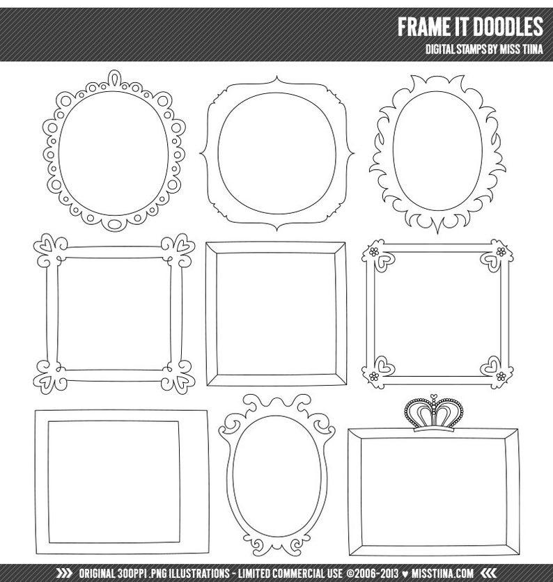 Frame It Doodles Digital Stamps Clipart Clip Art Illustrations Etsy In 2020 Doodle Frames Clip Art Digital Stamps