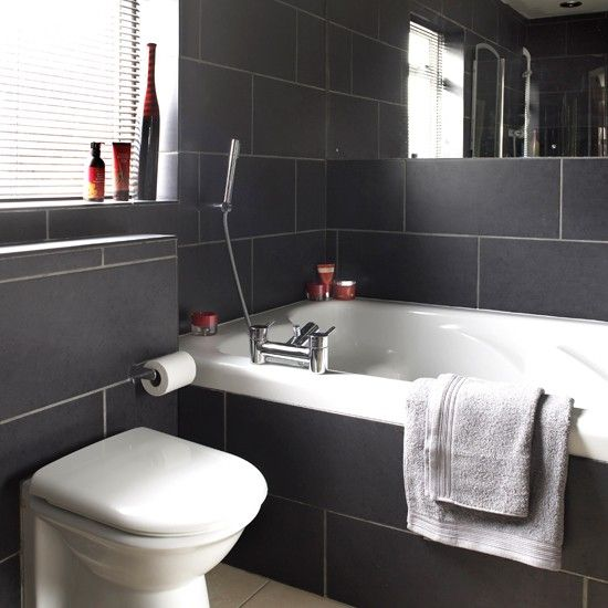 Charcoal Tiled Bathroom | Black And White Bathroom Designs |  Housetohome.co.uk