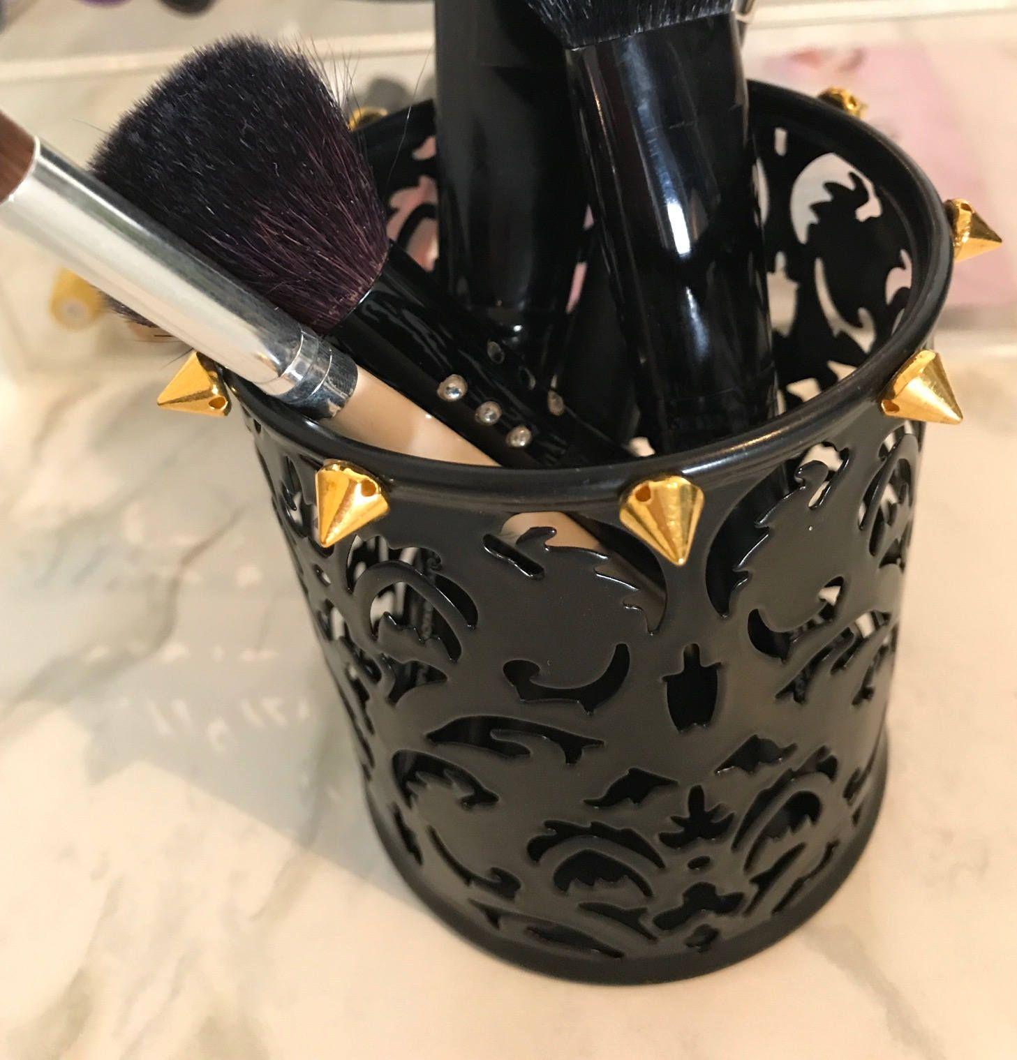 Cute Black Makeup Brush Holder,Makeup Brush Cup, Black and