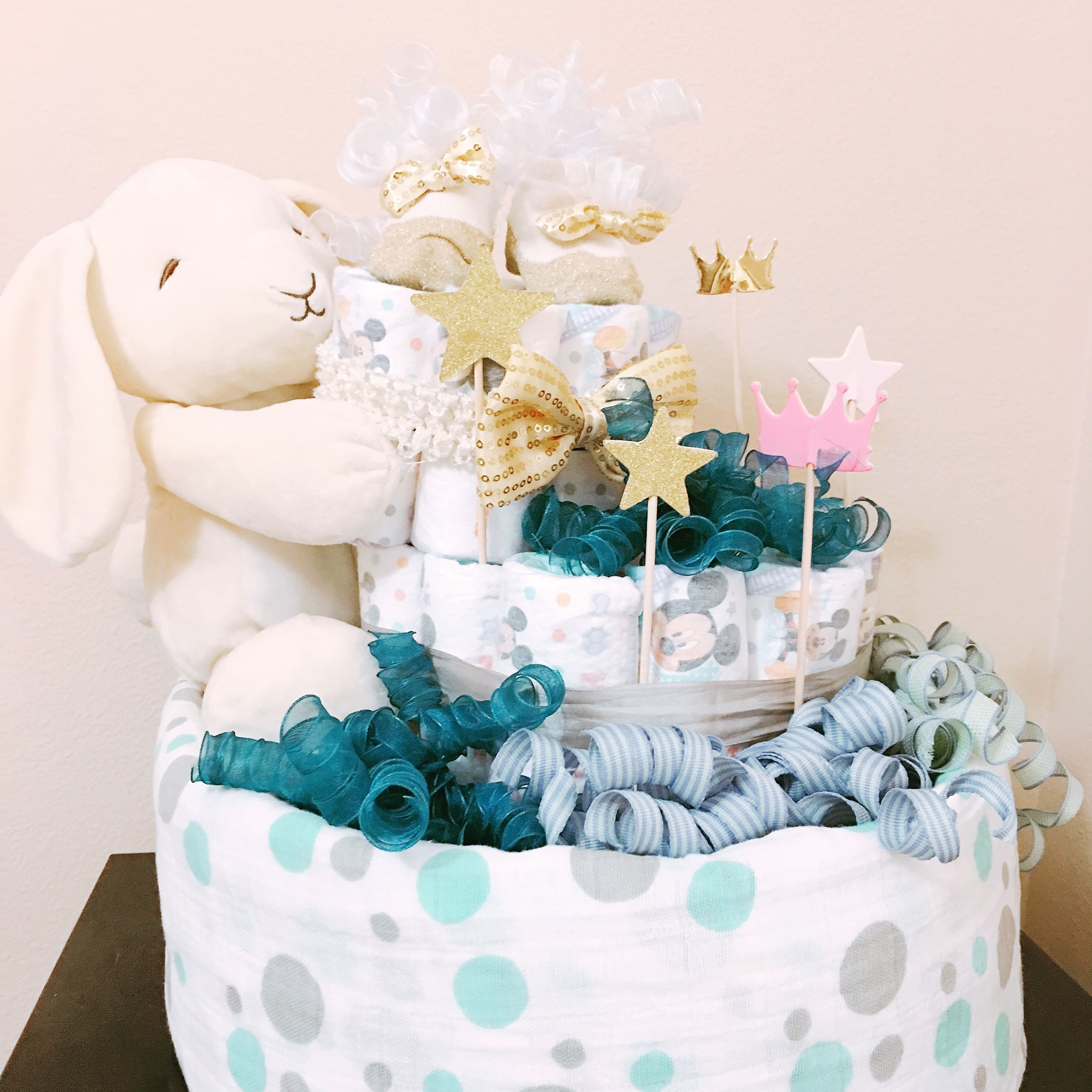 Bunny Diaper Cake for Baby Boy